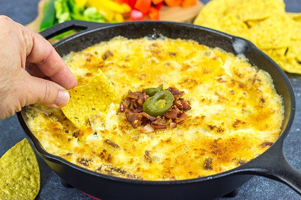 This Creamy Jalapeño Popper Dip is the perfect snack for your Super Bowl appetizer table!