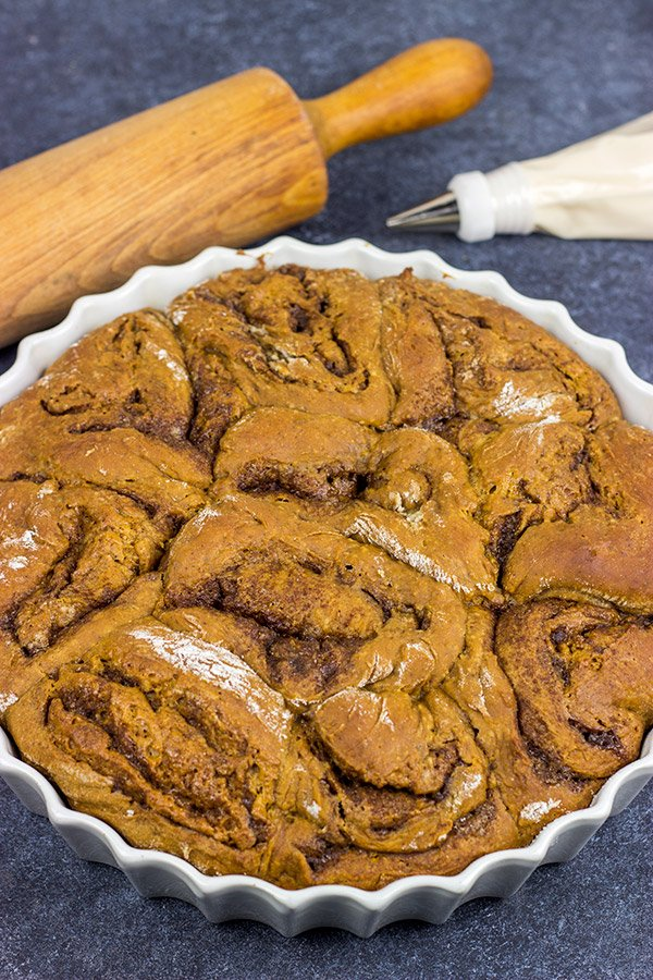 These Overnight Gingerbread Cinnamon Rolls are filled with comforting spices...and perfect for serving during the holidays!