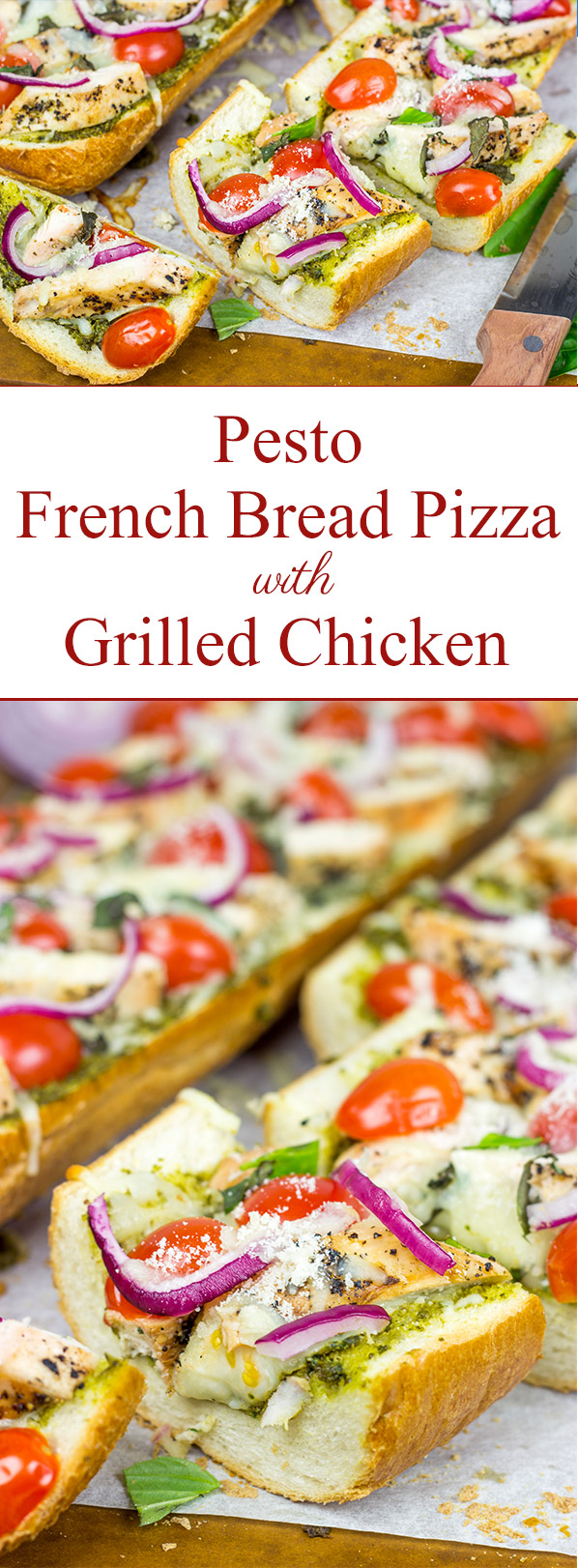 This Pesto French Bread Pizza with Grilled Chicken is a tasty and fun appetizer to serve during the big game!