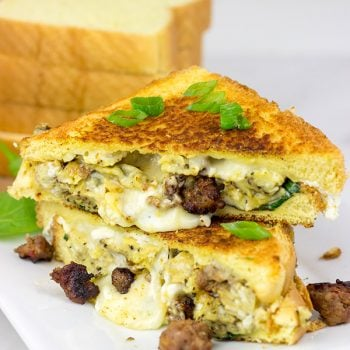 Who says grilled cheese sandwiches are only for lunch or dinner?  This 3-Cheese Breakfast Grilled Cheese will give you a good reason to hop out of bed on a cold, winter morning!