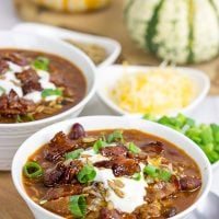 This Maple Bacon Chili is topped with maple candied bacon for an extra special layer of flavor! It's the perfect meal for a chilly (no-pun intended) Autumn evening!
