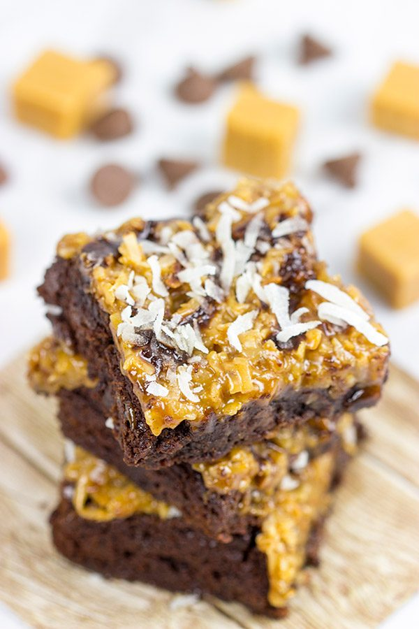 Inspired by the classic Girl Scout Cookie flavor, these Samoa Brownies are one of our favorite sweet treats!