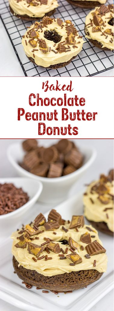 Who said donuts are reserved for breakfast only? These Baked Chocolate Peanut Butter Donuts make for a tasty dessert...or afternoon snack!