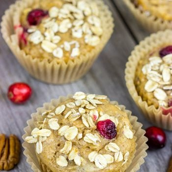 Packed with fresh cranberries, these Cranberry Oat Muffins are a delicious way to start a chilly morning during the holidays!