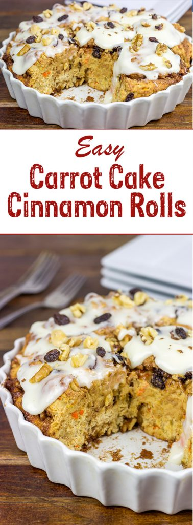 These Easy Carrot Cake Cinnamon Rolls are perfect for breakfast...especially when topped with a cream cheese frosting!