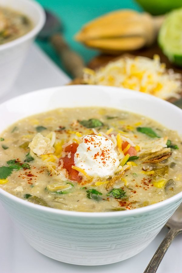 This Slow Cooker White Chicken Chili is perfect for cold winter days.  A good squeeze or two of fresh lime juice adds a delicious boost of flavor to this recipe!