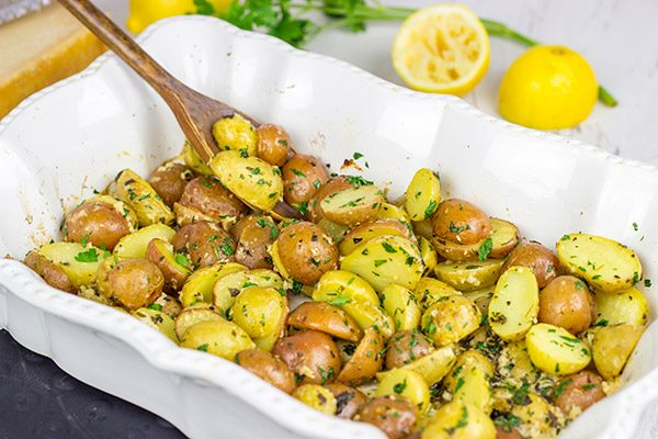 Looking for a tasty new dinner side dish?  These Lemon Parmesan Roasted Potatoes are easy...and packed with flavor!