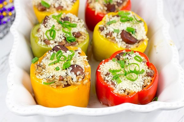 With Mardi Gras approaching, it's time for some Cajun comfort food.  It's time for some Red Beans and Rice Stuffed Peppers!