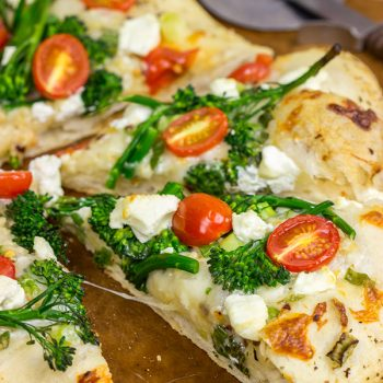 Broccolini and Goat Cheese Pizza