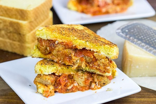 This Meatball Parm Grilled Cheese is pretty much spaghetti and meatballs...in sandwich form!