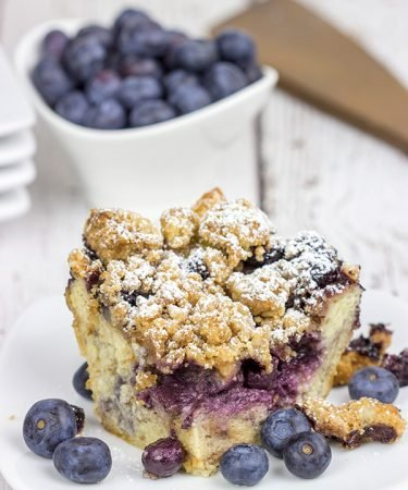 This Overnight Blueberry French Toast Bake is a fun (and easy) breakfast to serve on a lazy weekend morning!