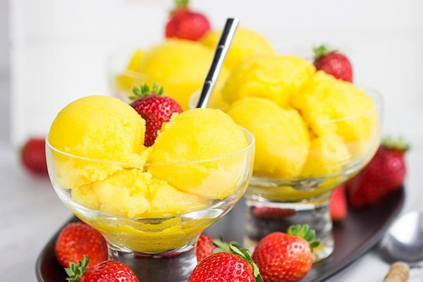 This Passion Fruit Sorbet is a dairy-free treat that's perfectly refreshing for warm summer days!