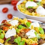 Sausage and Basil Campanelle with Burrata