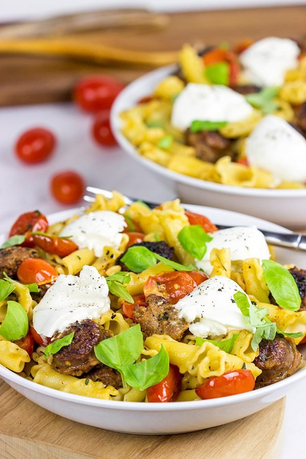 Time to mix up pasta night! This Sausage and Basil Campanelle with Burrata is a delicious weeknight dinner idea!