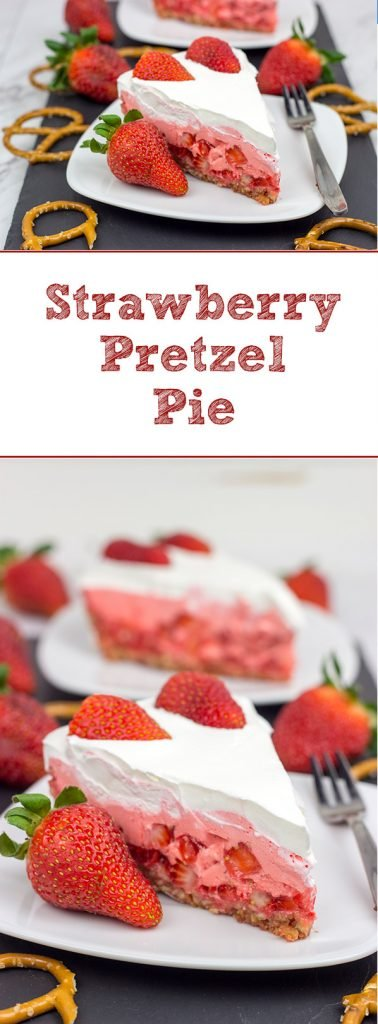 This Strawberry Pretzel Pie is a throwback to a classic recipe...but with a twist!  It's also an excellent dessert to serve at a summer picnic!