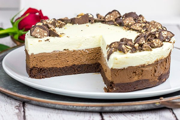This Triple Chocolate Mousse Cake Features 3 Layers Of And Its Topped With Chopped