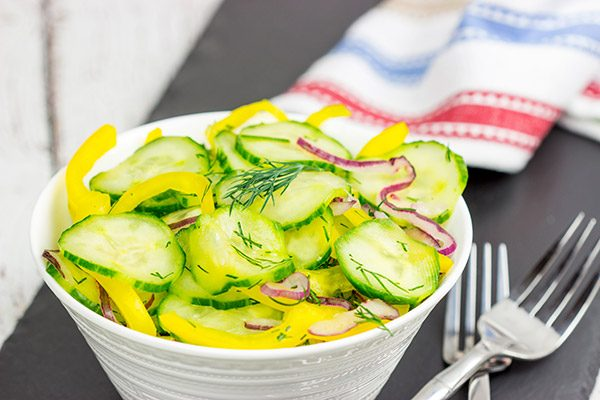 This Cold Cucumber Salad is an easy and healthy side dish that pairs really well with your summer grilling recipes!