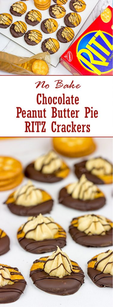 Looking for a fun entertaining idea? Grab a pack of RITZ and whip up these No Bake Chocolate Peanut Butter Pie RITZ Crackers!