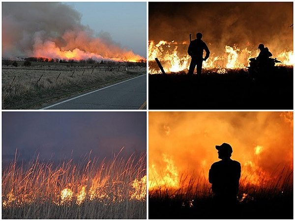 Pasture burning in Kansas
