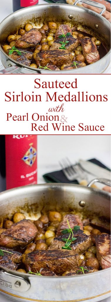 Too cold to pull out the grill? These Sauteed Sirloin Medallions with Pearl Onion Red Wine Sauce are surprisingly easy to make on the stovetop!