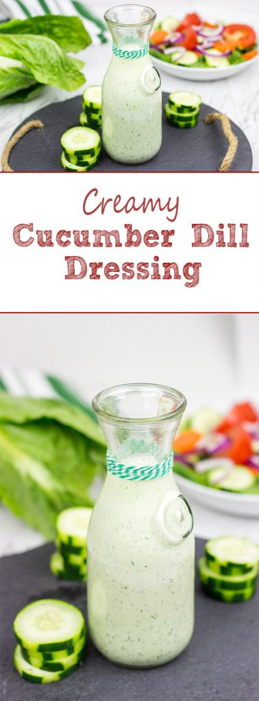 This Creamy Cucumber Dill Dressing is a quick and easy dressing for fresh summer chopped salads!