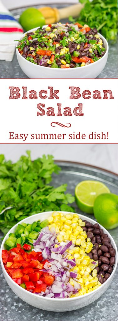 This Easy Black Bean Salad is a summer staple in our house. It's delicious as either a side dish with grilled food or as a dip with tortilla chips!