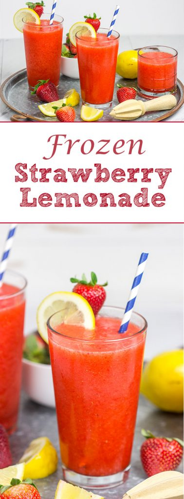 Made from just 3 ingredients, this Frozen Strawberry Lemonade is the perfect way to cool off when it's hotter'n blue blazes outside your door!