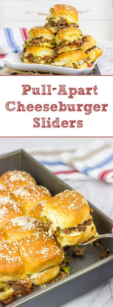 Caught in a summer rainstorm?  Move the party inside with a batch of these Pull Apart Cheeseburger Sliders!
