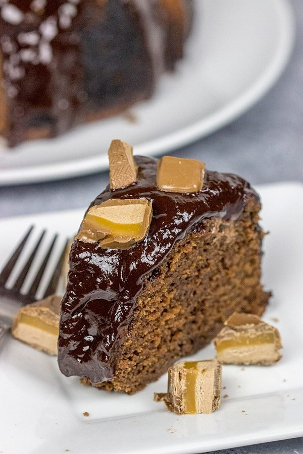 This Milky Way Bundt Cake features Milky Way candy bars baked in the cake and sprinkled on top.  It's the perfect dessert for the chocolate lover in your life!