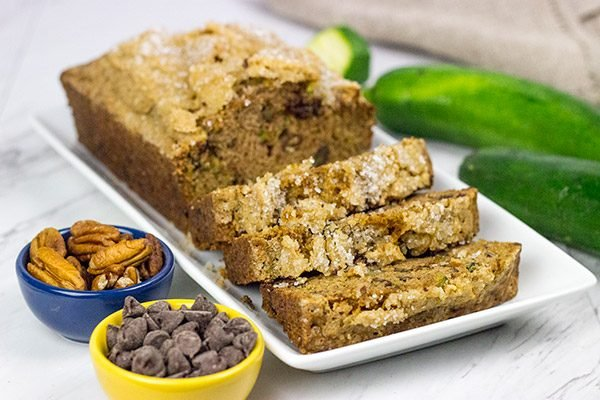 Overrun with zucchini?  Grab some chocolate chips from the pantry and make a batch of this tasty Chocolate Chip Zucchini Bread!