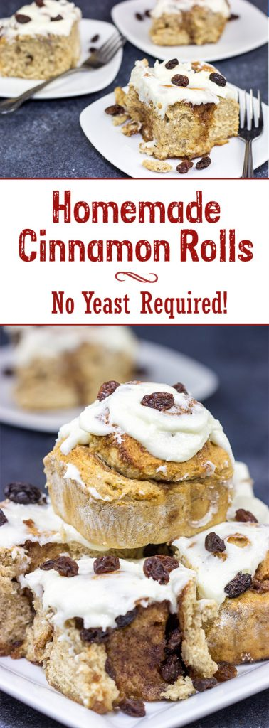Love cinnamon rolls, but afraid of baking with yeast?  These Cinnamon Rolls Without Yeast are the perfect solution, and they make for one heck of a tasty breakfast!