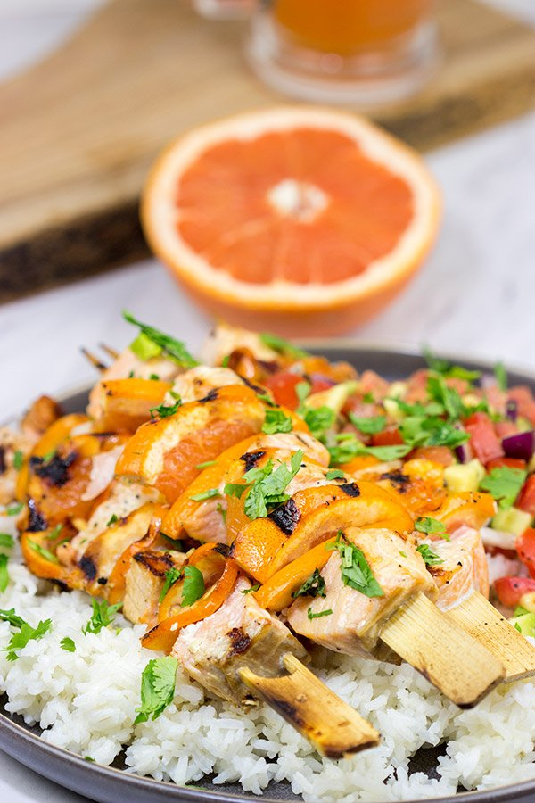 These Citrus Grilled Salmon Skewers are an easy and delicious way to enjoy dinner on the grill!  They're perfect for everything from backyard parties to tailgating with friends!