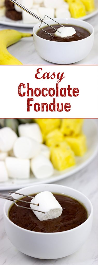 Looking for a fun dessert for a holiday party or just a quiet night with the family? This Easy Chocolate Fondue is always a hit!
