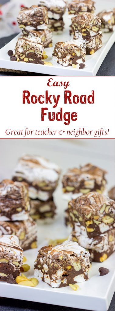 This Easy Rocky Road Fudge is loaded with peanuts, marshmallows and chocolate...and it can be made in about 15 minutes!