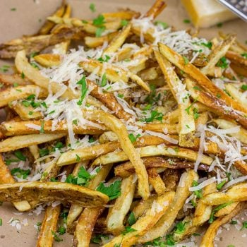 Looking for a unique (and trendy!) side dish? These Parmesan Truffle Fries are tossed with truffle oil and topped with freshly grated Parmesan cheese. Enjoy!