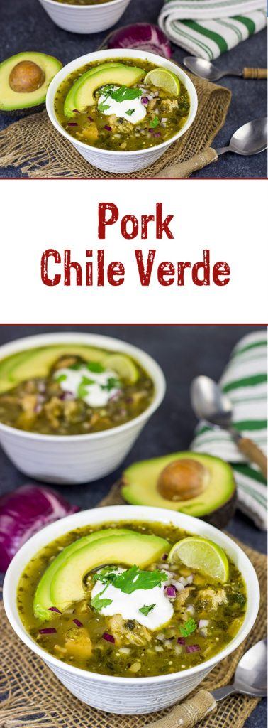 This Pork Chile Verde is loaded with flavor, and it's a great way to warm up on a cold evening!