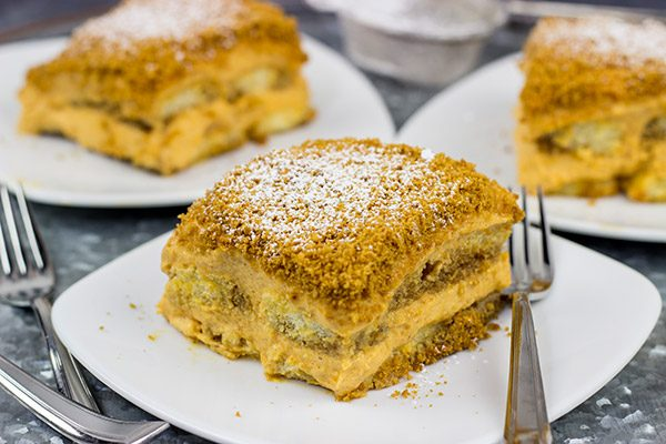 This Pumpkin Spice Tiramisu is a delicious combination of a classic Italian dessert with the warming Autumn spices of cinnamon, ginger and nutmeg!