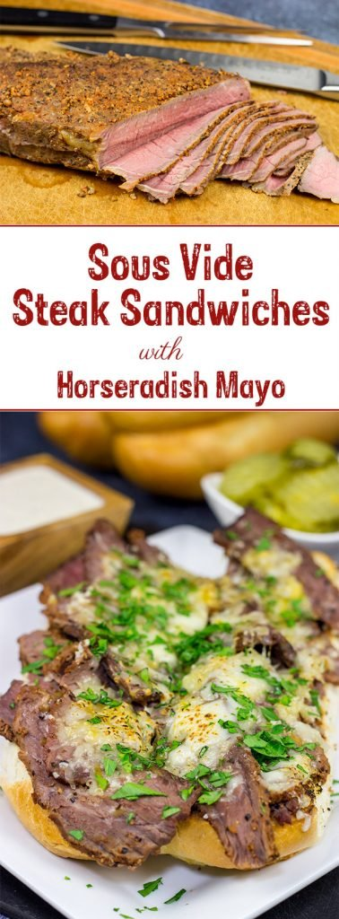 Loaded with tender steak and melty cheeses, these Sous Vide Steak Sandwiches are a favorite in our house!