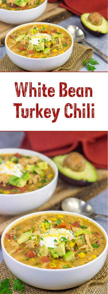 This White Bean Turkey Chili is an easy and tasty way to use leftover roasted turkey from the holidays!  And this chili only takes about 30 minutes to make, too!