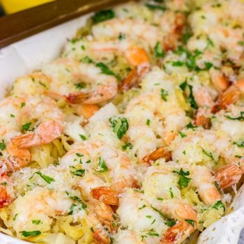 No need to pull out multiple pots and pans for this Baked Shrimp Scampi.  The entire dish is baked in the oven!