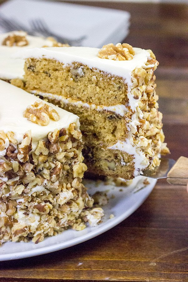 This Maple Walnut Cake blends the warming flavors of maple and toasted nuts.  A slice of this cake is the perfect dessert at the end of a busy day!