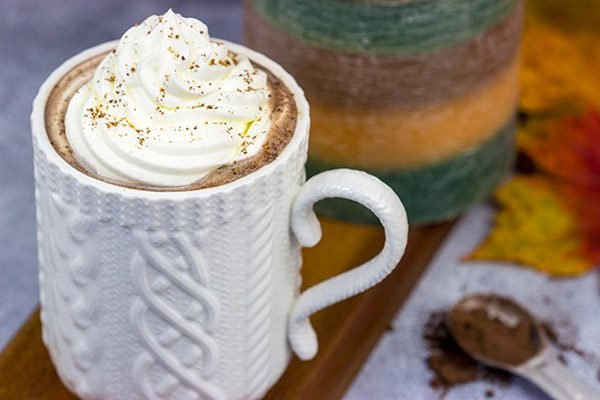 This Pumpkin Spice Mocha Hot Chocolate is a creamy, chocolatey drink that's guaranteed to warm you up on chilly Autumn days!
