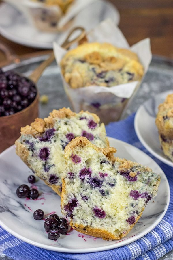 Blueberry Streusel Muffins are a classic weekend breakfast in our house.  These muffins are filled with blueberries and topped with a cinnamon + sugar streusel...and they're delicious!