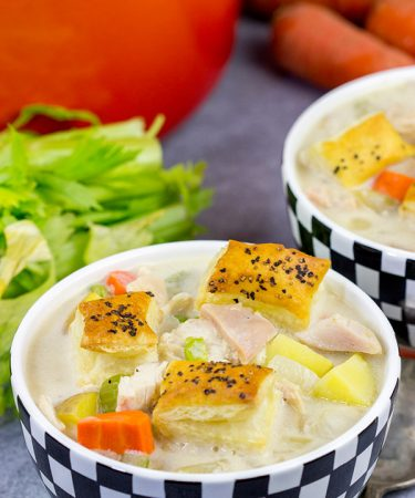 Light a fire.  Put on your favorite pajamas.  And then curl up with a bowl of this Chicken Pot Pie Soup!