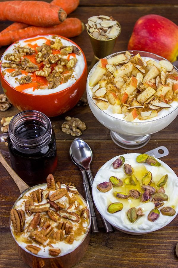 How do you top your yogurt?  We love topping our Greek Yogurt with Nuts, Honey and Maple Syrup.  Mix and match the flavors for fun twists!