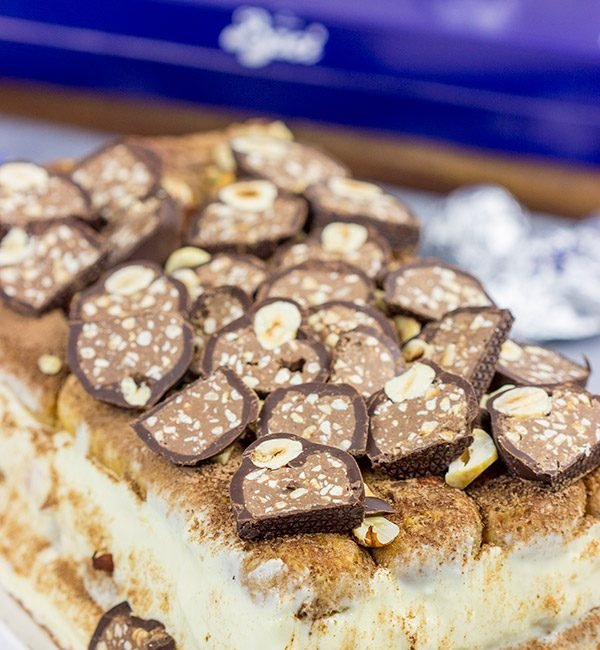 This classic Italian desserts takes a delicious twist with the addition of chopped Hazelnuts and Baci!  Chocolate Hazelnut Tiramisu is the perfect way to celebrate the holidays...or any day!
