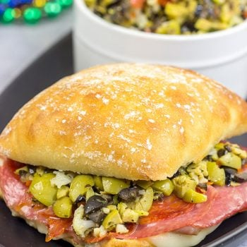 These Muffaletta Panini are a twist on the classic New Orleans' sandwich, and they're the perfect way to celebrate Mardi Gras!