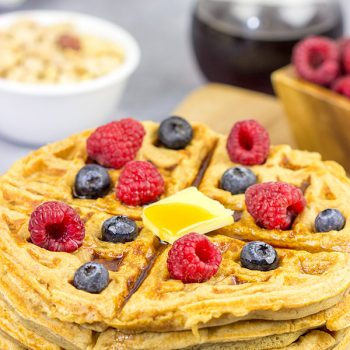 Packed with peanuts and peanut powder, these Peanut Waffles are a delicious way to mix up weekend breakfasts!