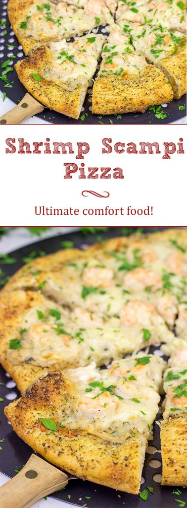 This Shrimp Scampi Pizza is mouth-watering football food! Perfectly cooked shrimp combined with a flavorful garlic white sauce make this pizza a tasty option for the big game!