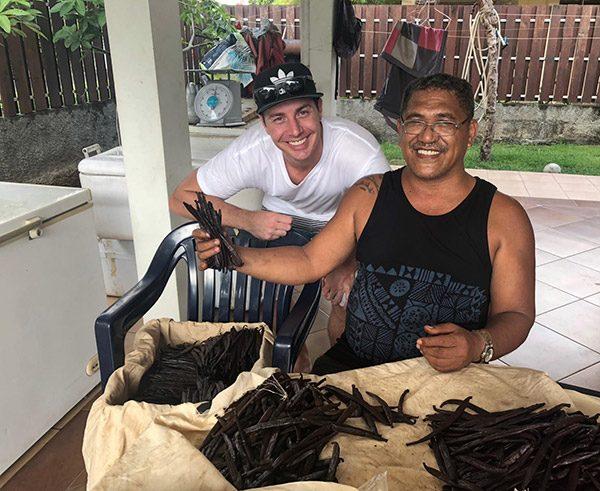 Harvesting vanilla beans in Tahiti